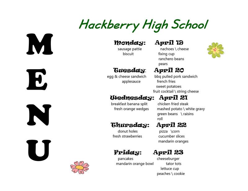 April 19-23 breakfast and lunch menu
