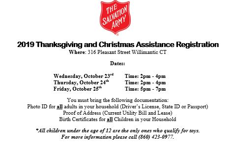 2019 Thanksgiving and Christmas Assistance Registration Thumbnail Image