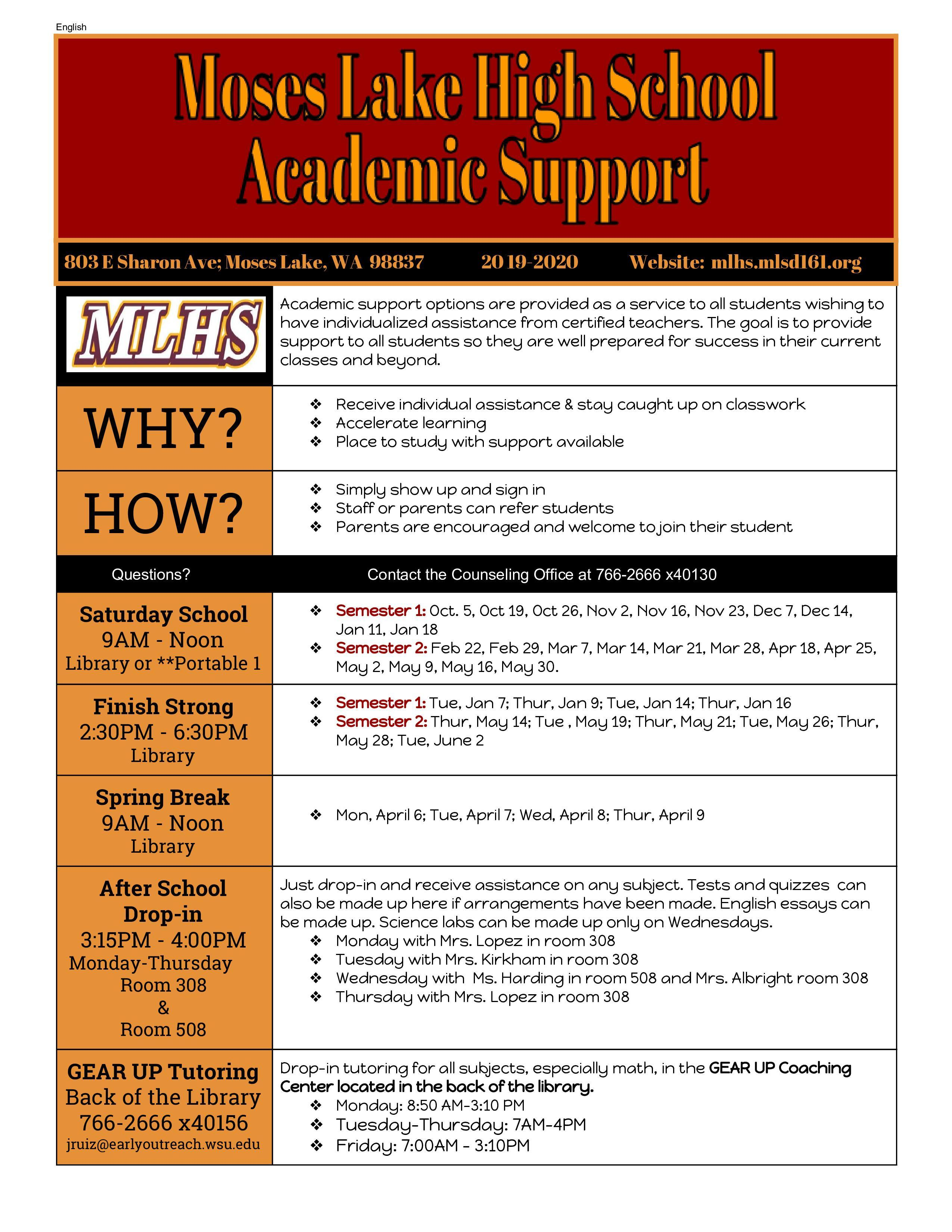 Academic Support Schedule for the 19/20 School Year at MLHS
