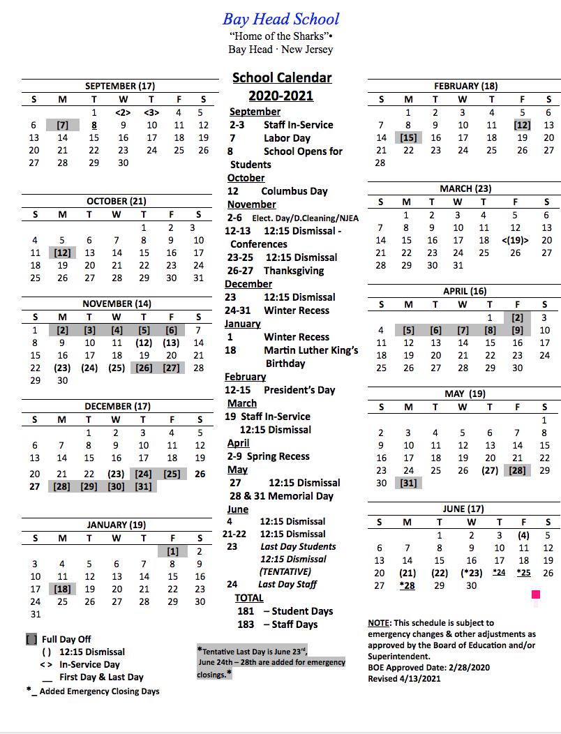 Revised 20-21 Calendar