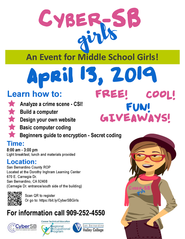 Cyber-SB Girls Day, April 13, 2019. Click here to register Thumbnail Image