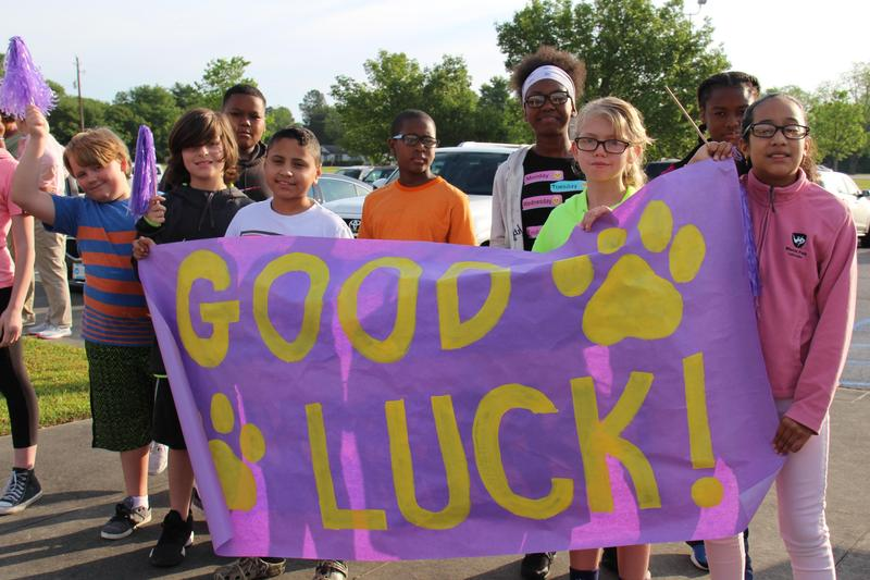 Students at B-L Elementary School cheer on athletes heading to the Special Olympics on Thursday, April 25th.
