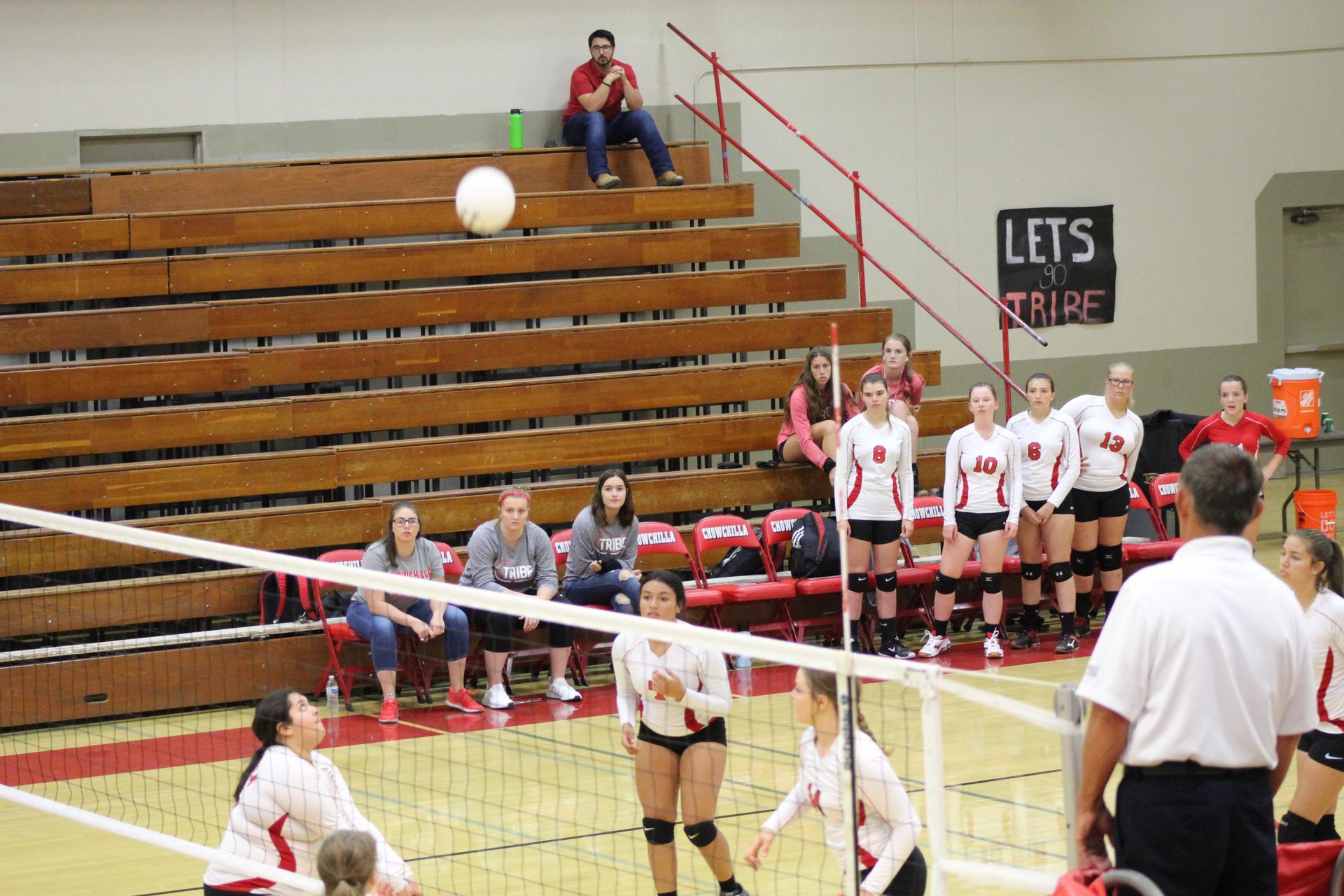 JV Girls playing volleyball against Yosemite