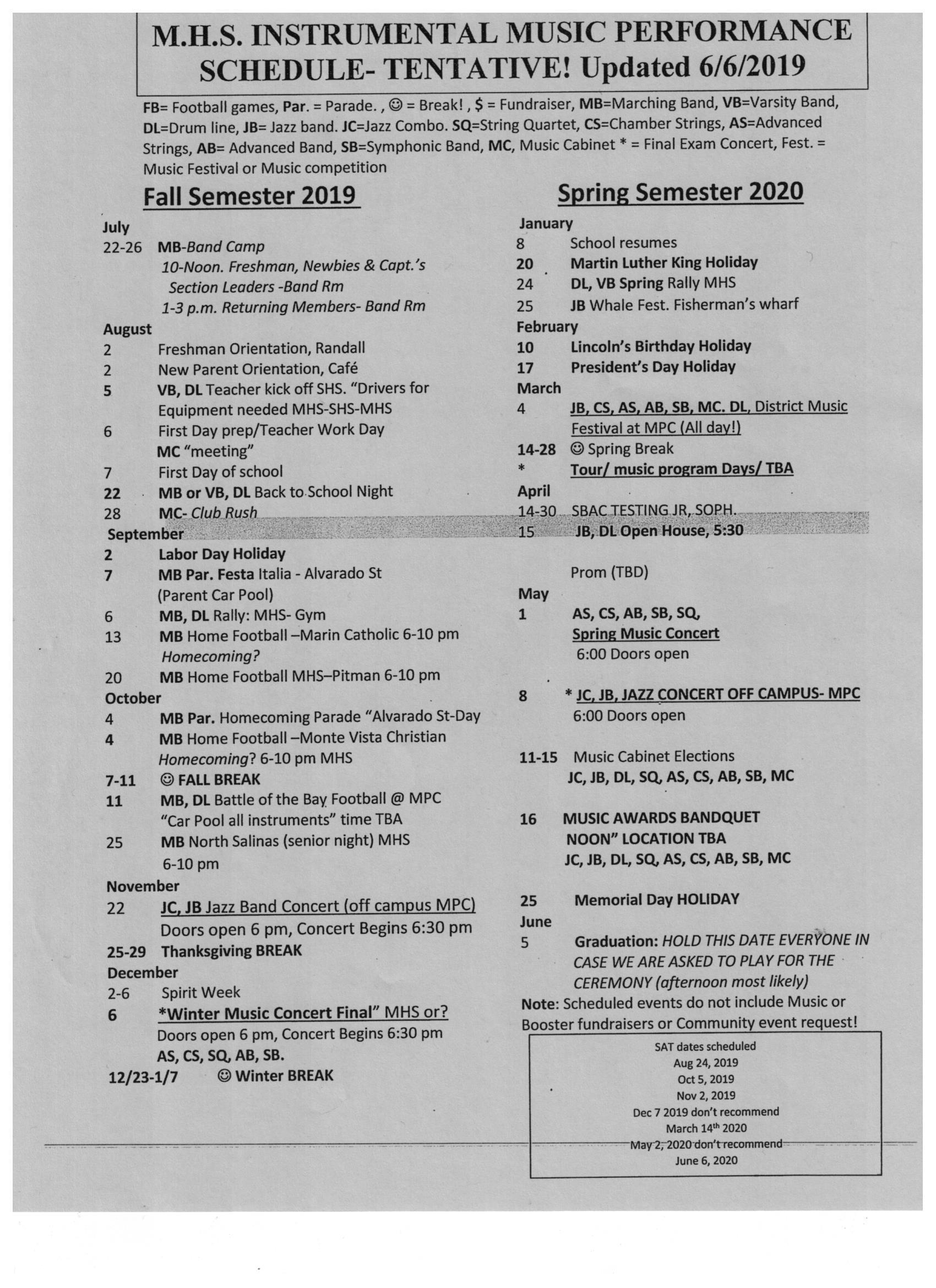 Tentative Music Performance Schedule