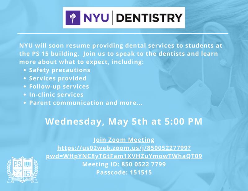 NYU Dental parent workshop flyer
