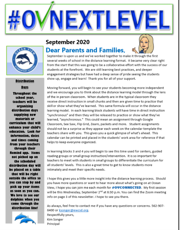 Picture of a newsletter titled OVNEXTLEVEL.