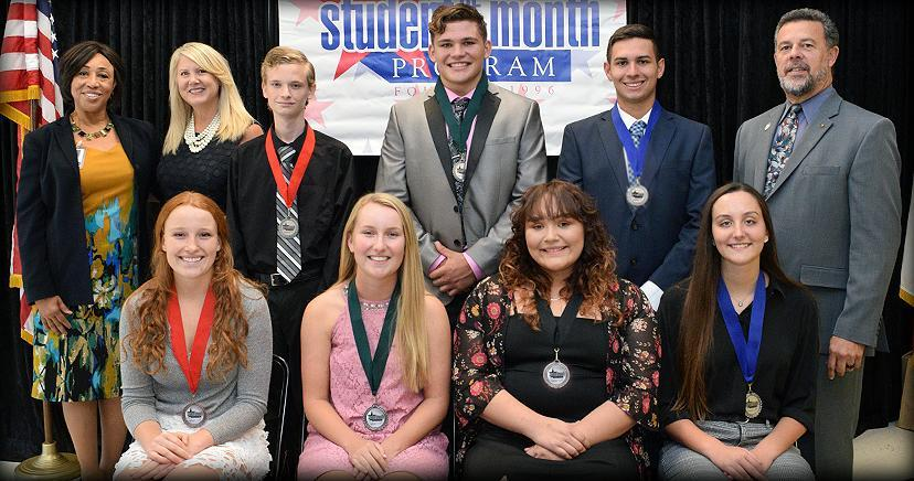STUDENT OF THE MONTH: L-R seated: Kaylee Clarke—EHS; Natalie Smith—LHS; Gianna Santos—OHS; Kylie Tulley—TCHS; Back: Jacqueline Slavin-Newberry (RCOE); Heidi Matthies-Dodd (LEUSD Trustee); Isaac Coleman—EHS; Maguire Cole—LHS; Kaden Quintana—TCHS; Kim Joseph Cousins (LEVCC President/CE