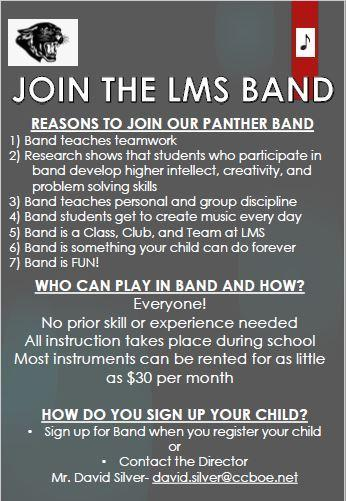 LMS Band and Information (for Rising 6th Graders) Featured Photo