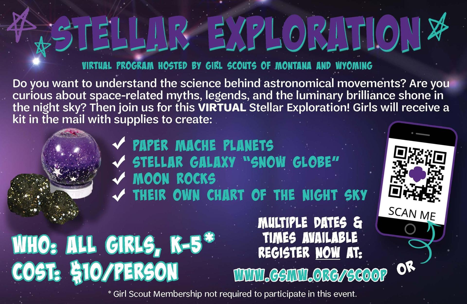 Girl Scouts Stellar Exploration Virtual Program Flyer