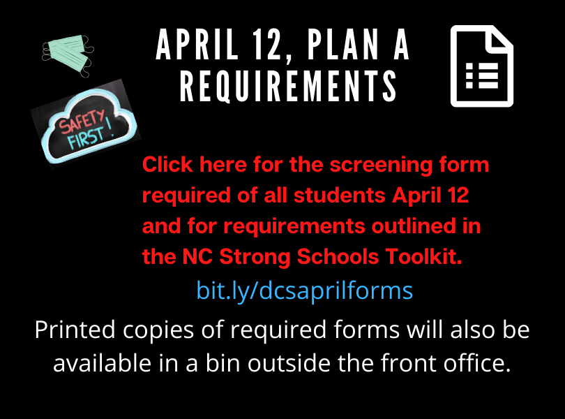 April Plan A requirements - click here for forms and info