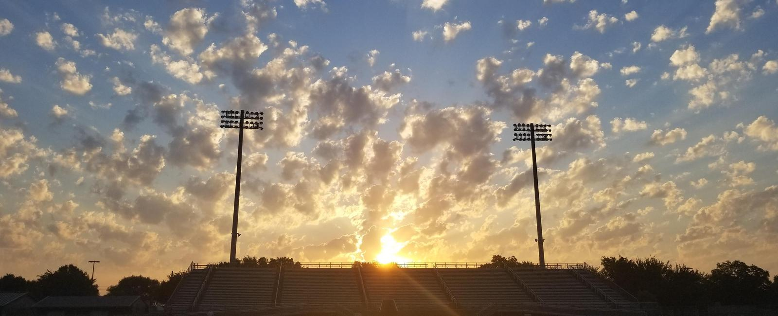 Sunrise over Lumpkins Stadium