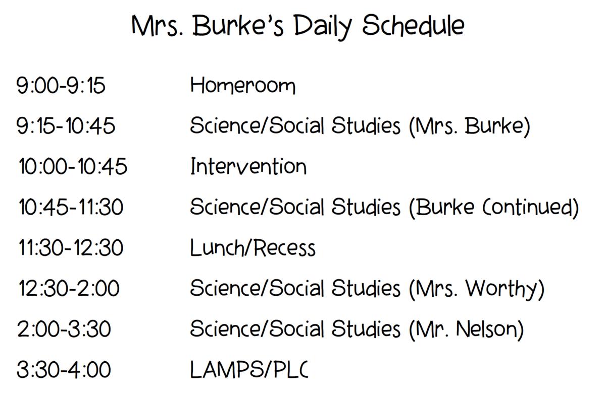 Burke's schedule
