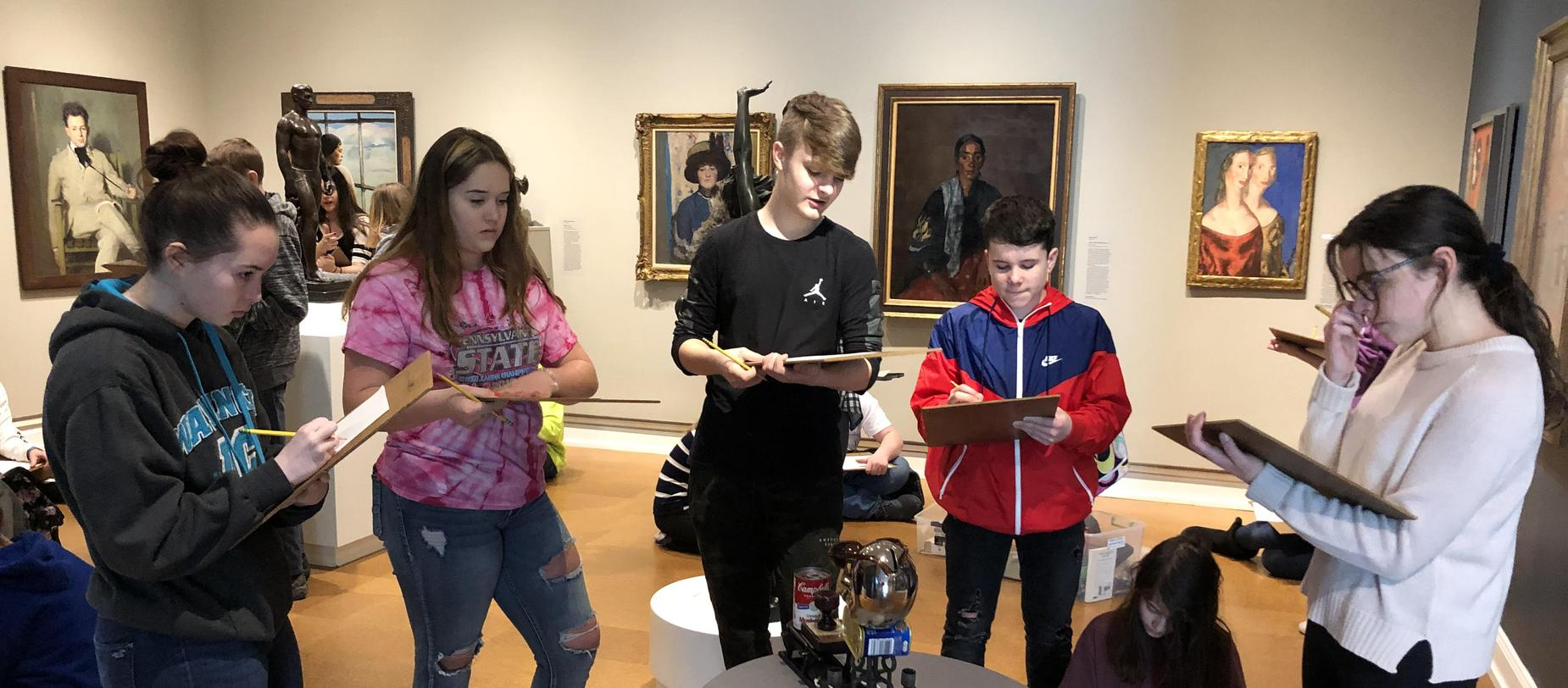 Eighth grade students at the Westmoreland Museum of American Art