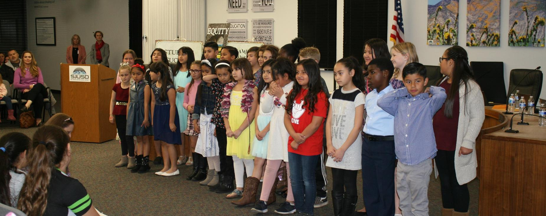 Record Elementary Ranchers choir performed at the February Board of Trustees meeting.