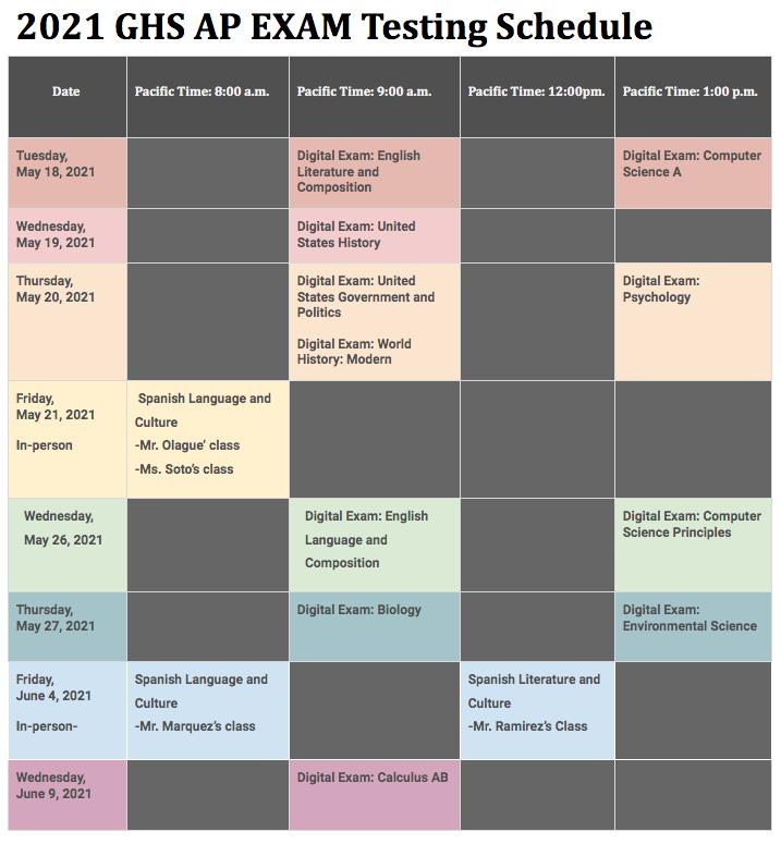 2021 GHS AP EXAM Testing Schedule