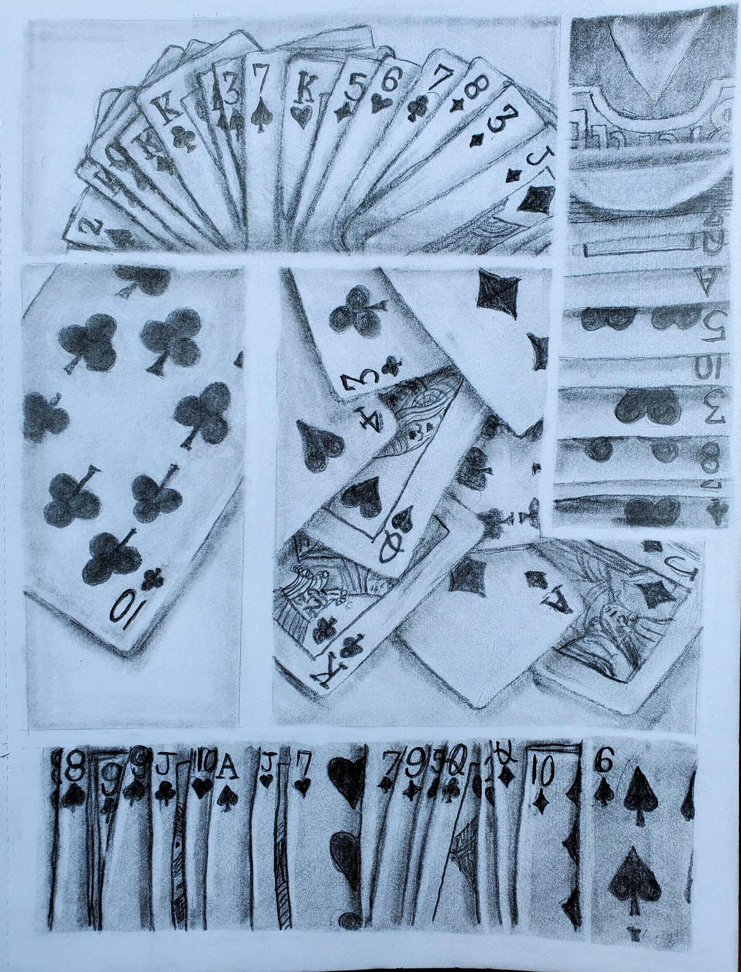 playing cards pencil drawing