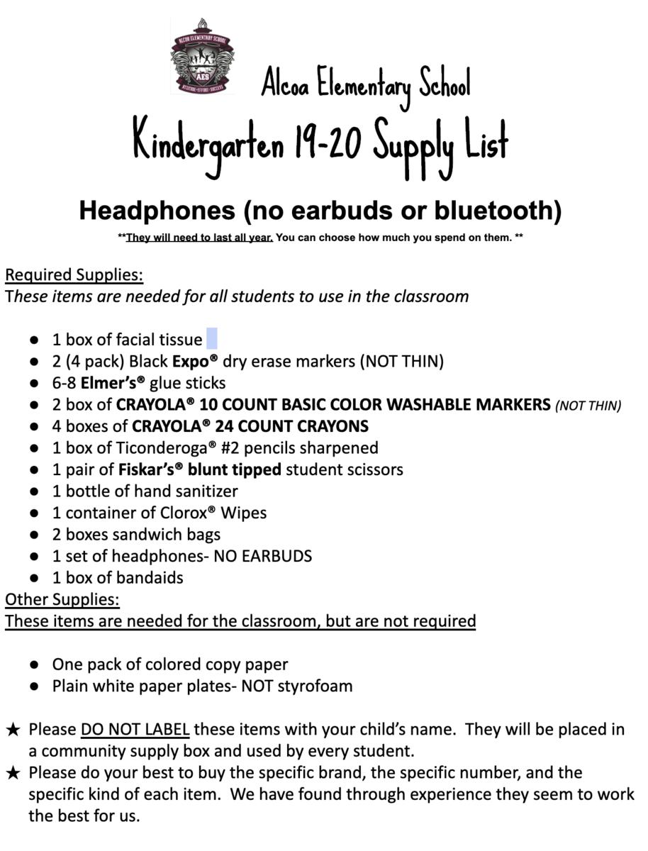 Kindergarten 2019-20 Supply List