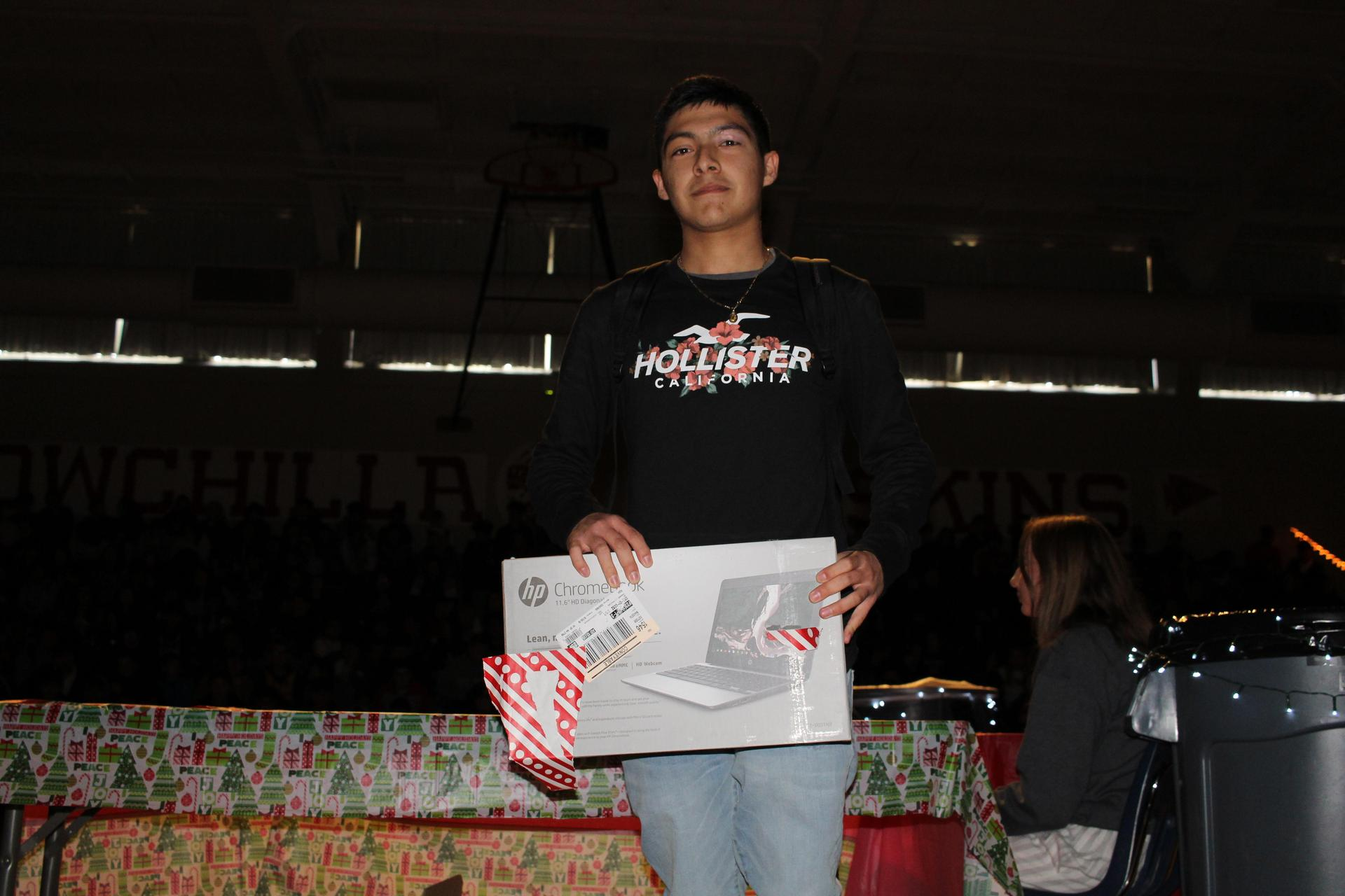Yahir Badillo opening his gift