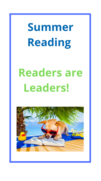 poster of summer reading that says readers are leaders
