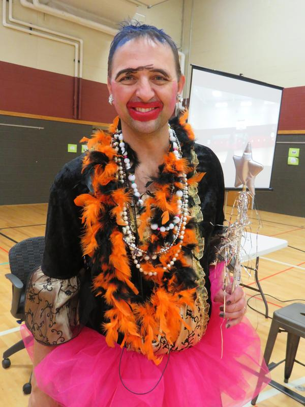 Principal Mike Gelmi got a full princess makeover during this year's reading challenge celebration.