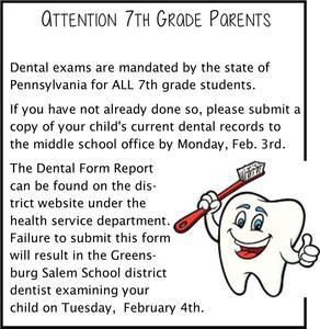 Dental Exam Report Due