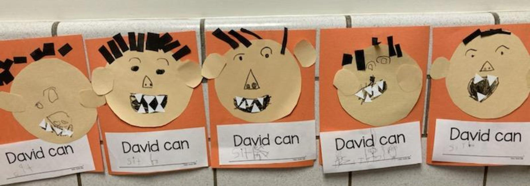 Artwork with student face that reads David can...