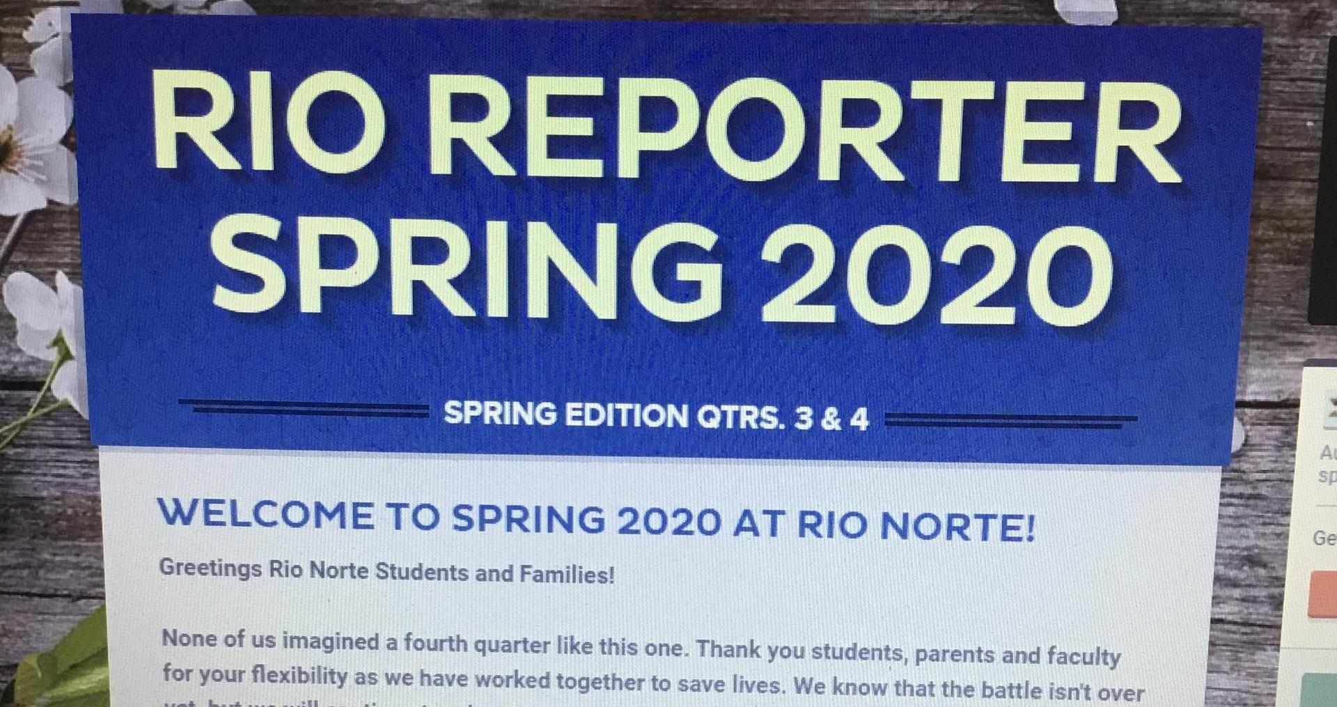 Picture of Rio Reporter Spring 2020