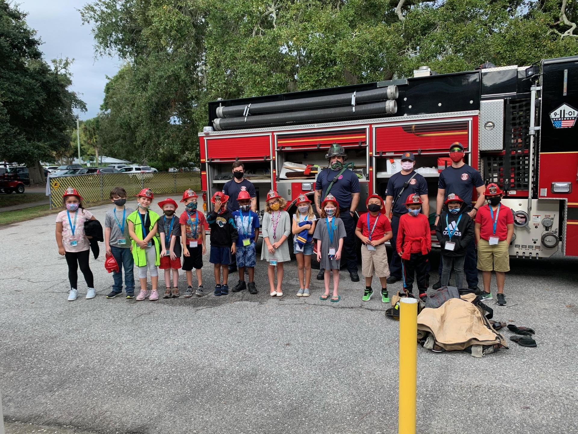 Firefighters at St. Simons Elementary School's 'Community Helpers' event.