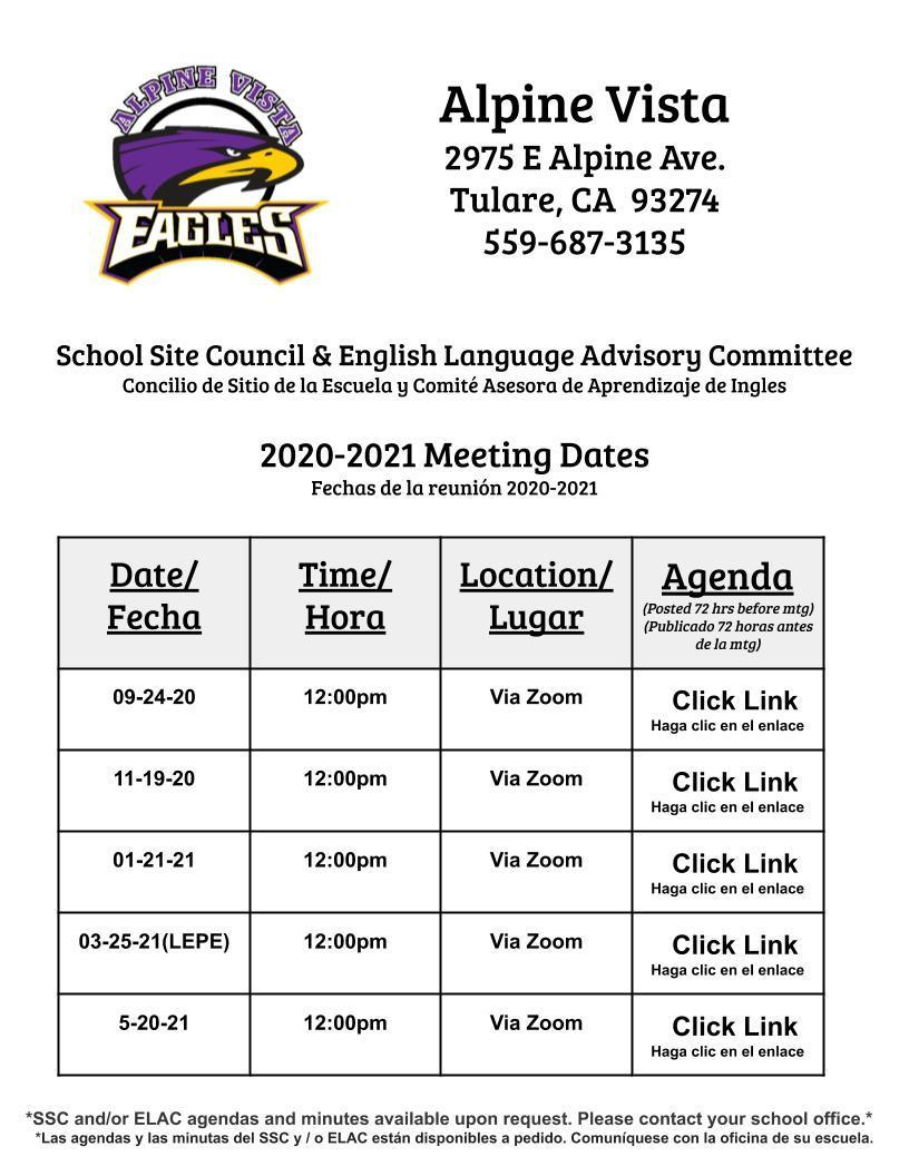 Meeting Dates & Times