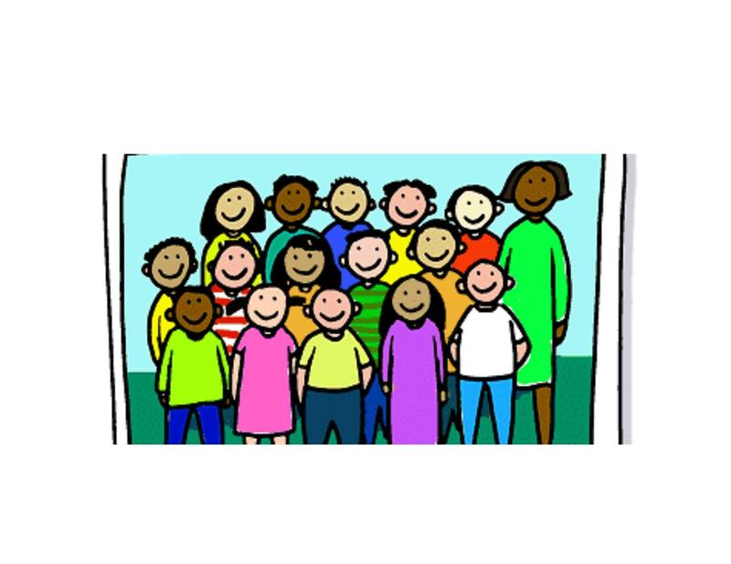 Clip art of a class posing for a photo