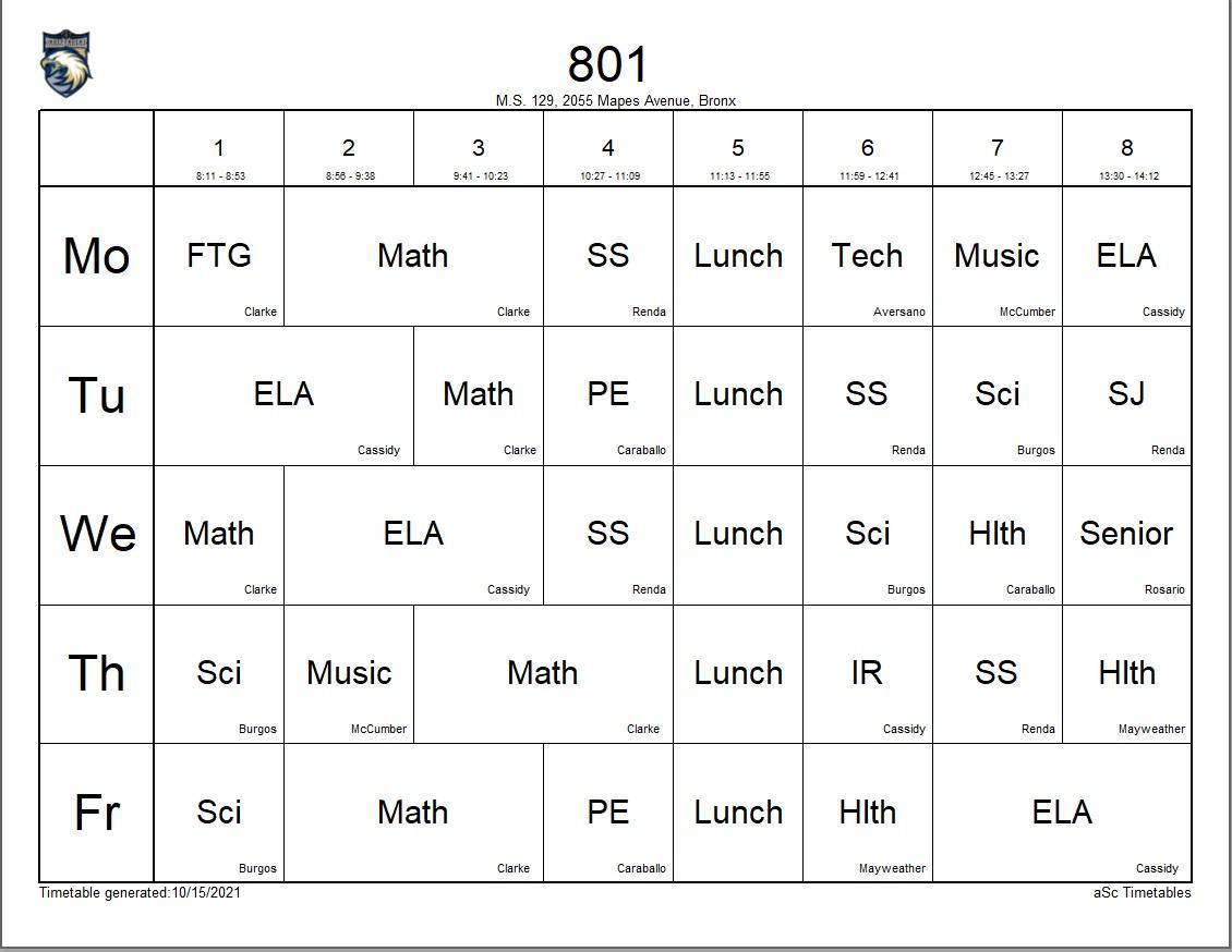 801 class schedule