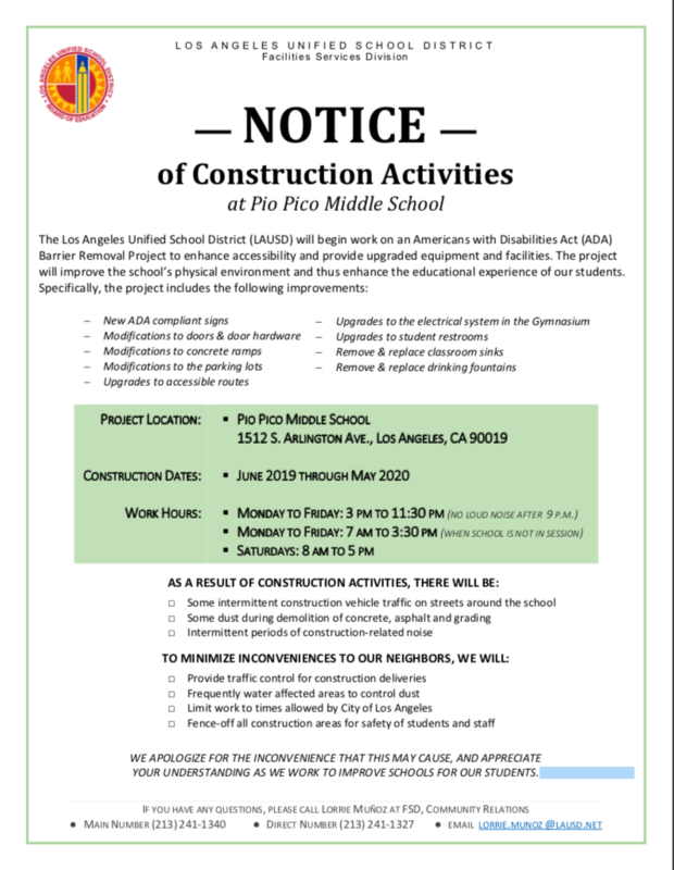 NOTICE — of Construction Activities at Pio Pico Middle School Thumbnail Image