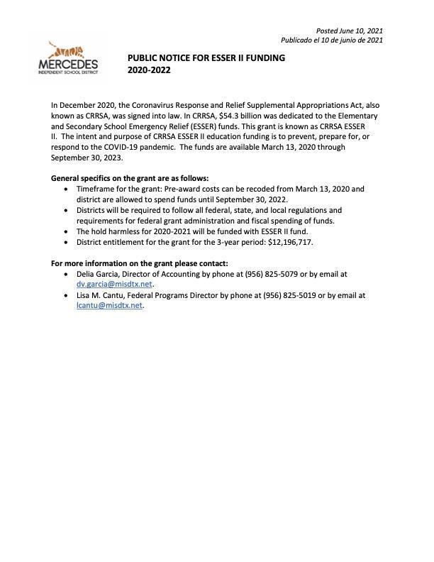 Public Notice for ESSER II Funding 2020-2022 Featured Photo