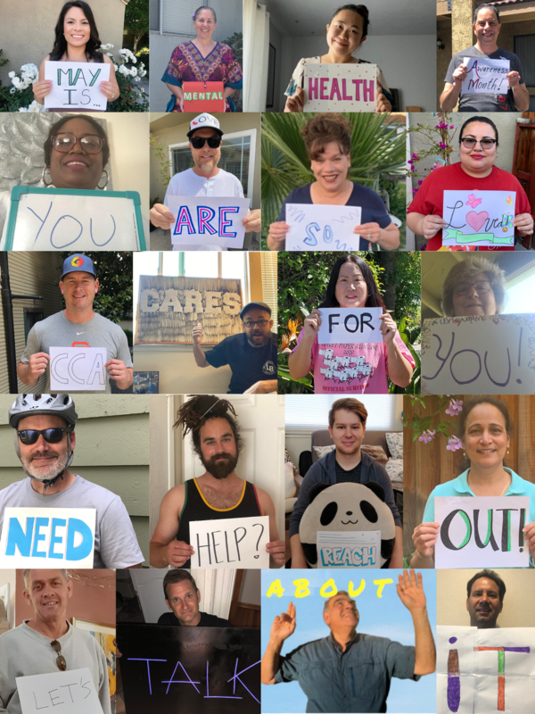 A collage of teachers holding up signs to raise awareness for mental health awareness month.