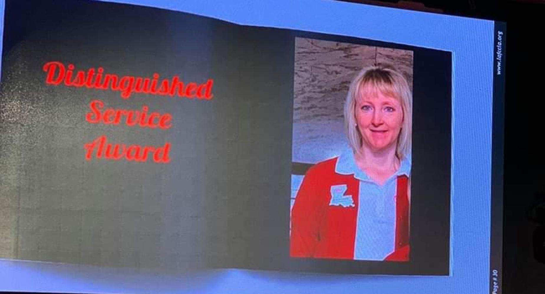 FCCLA-Mrs. Jennifer Hebert received the 2020 Distinguished Service Award at the LA. State Conference in Alexandria.