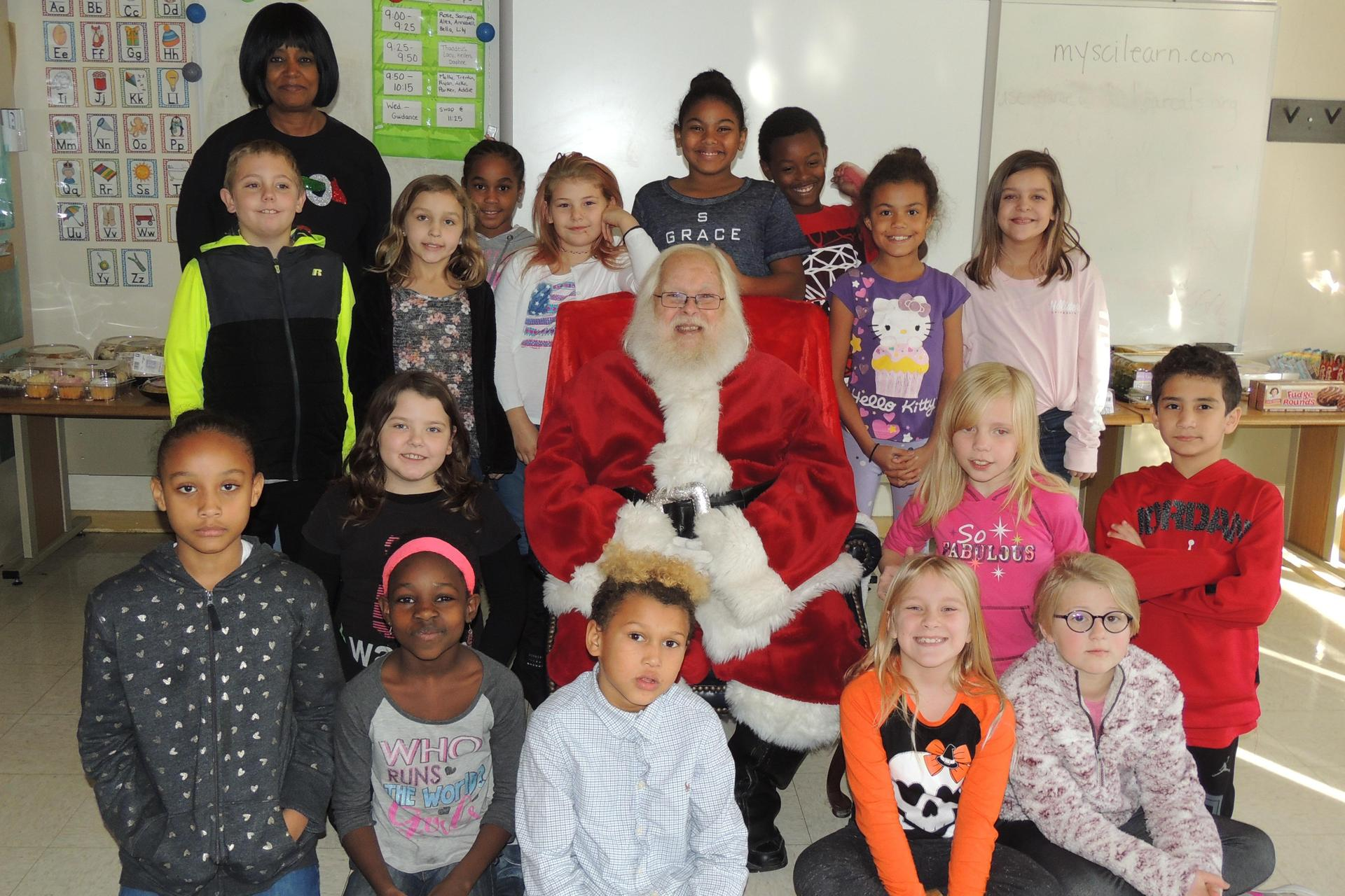 Mrs. Gammon's class with Santa