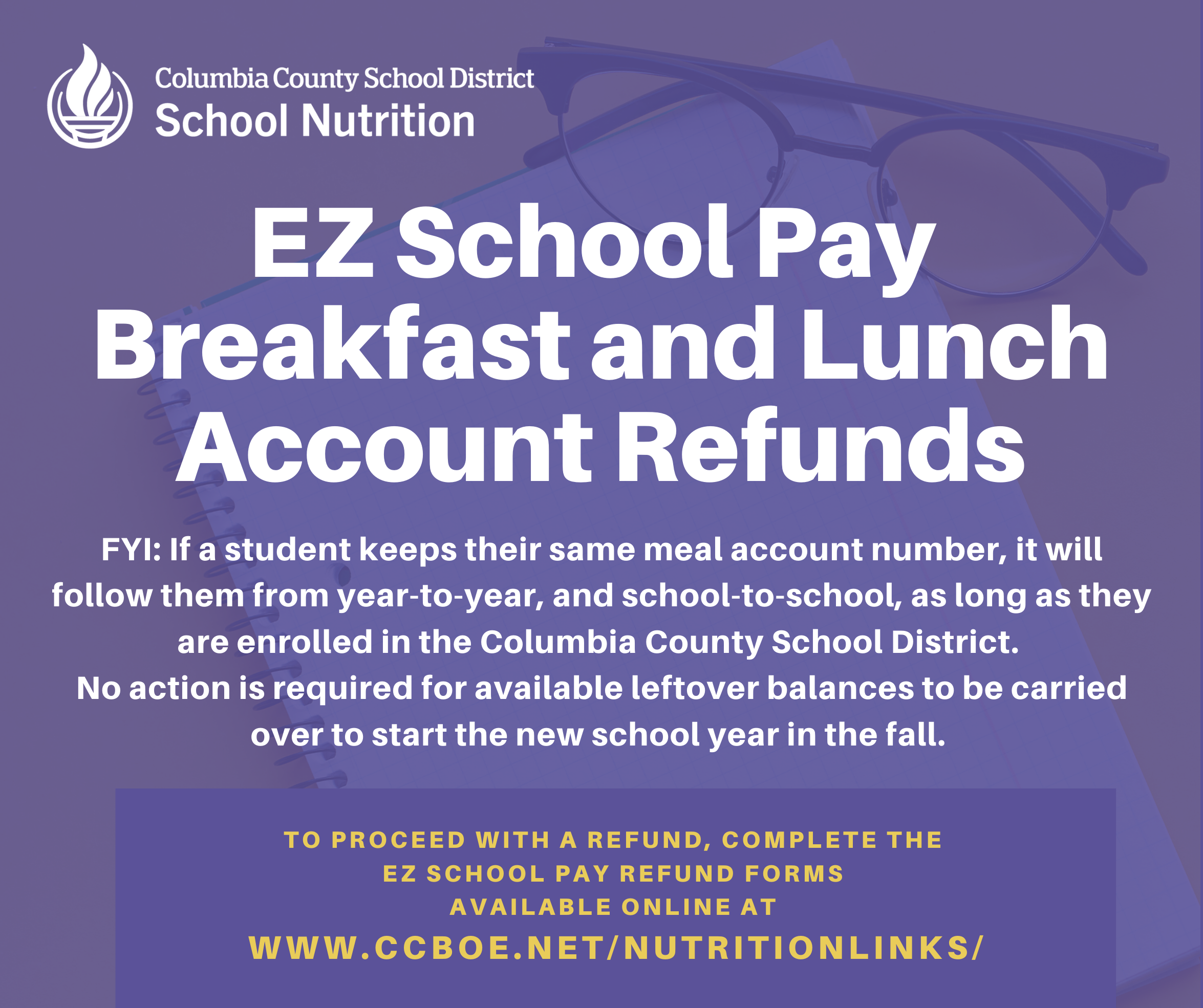Lunch and Brekfast account refund information