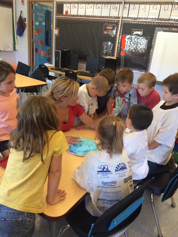 Kindergarten students making foam