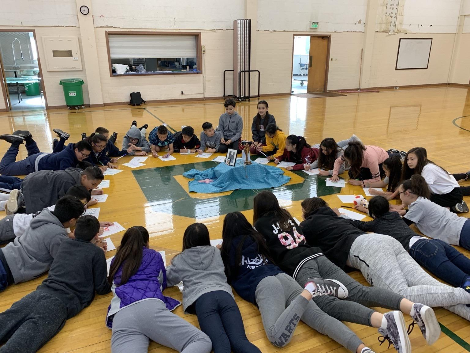 The students doing a team building exercise.