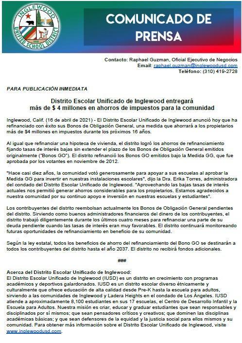COMUNICADO DE PRENSA - PUBLICACIÓN INMEDIATA Featured Photo