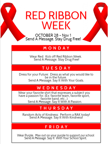 red ribbon list can be found on each day October 28-November 1