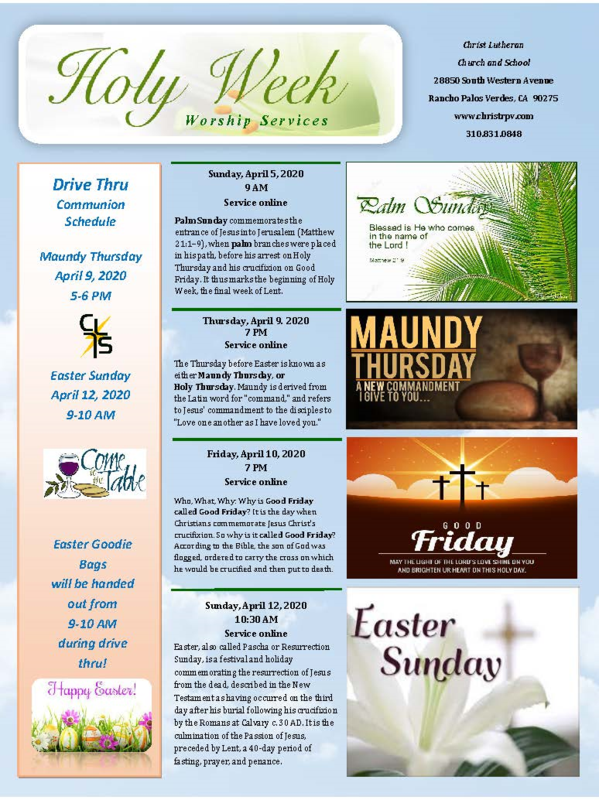 Holy Week Service Guide - All Services Online- Facebook Live- Available on YouTube Featured Photo