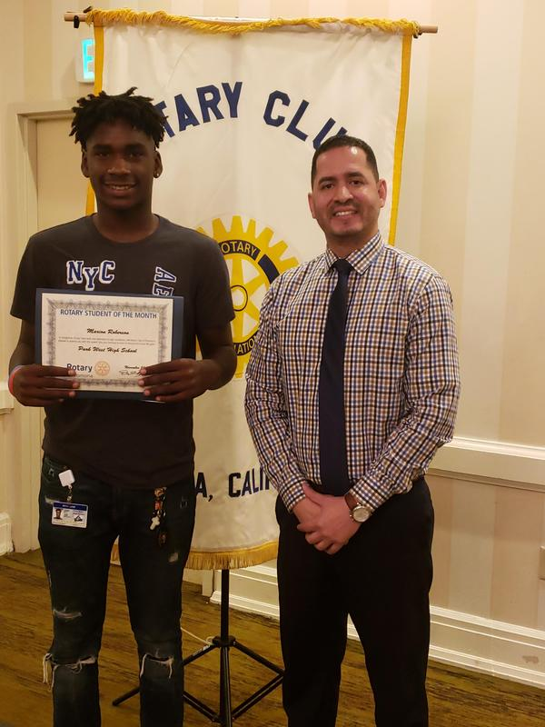 Rotary Student of the month and principal.