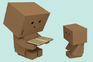 Young person and older person sharing a book. Both people are made out of boxes.
