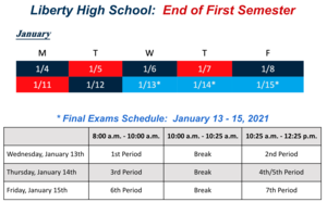 End of 1st Semester Schedule