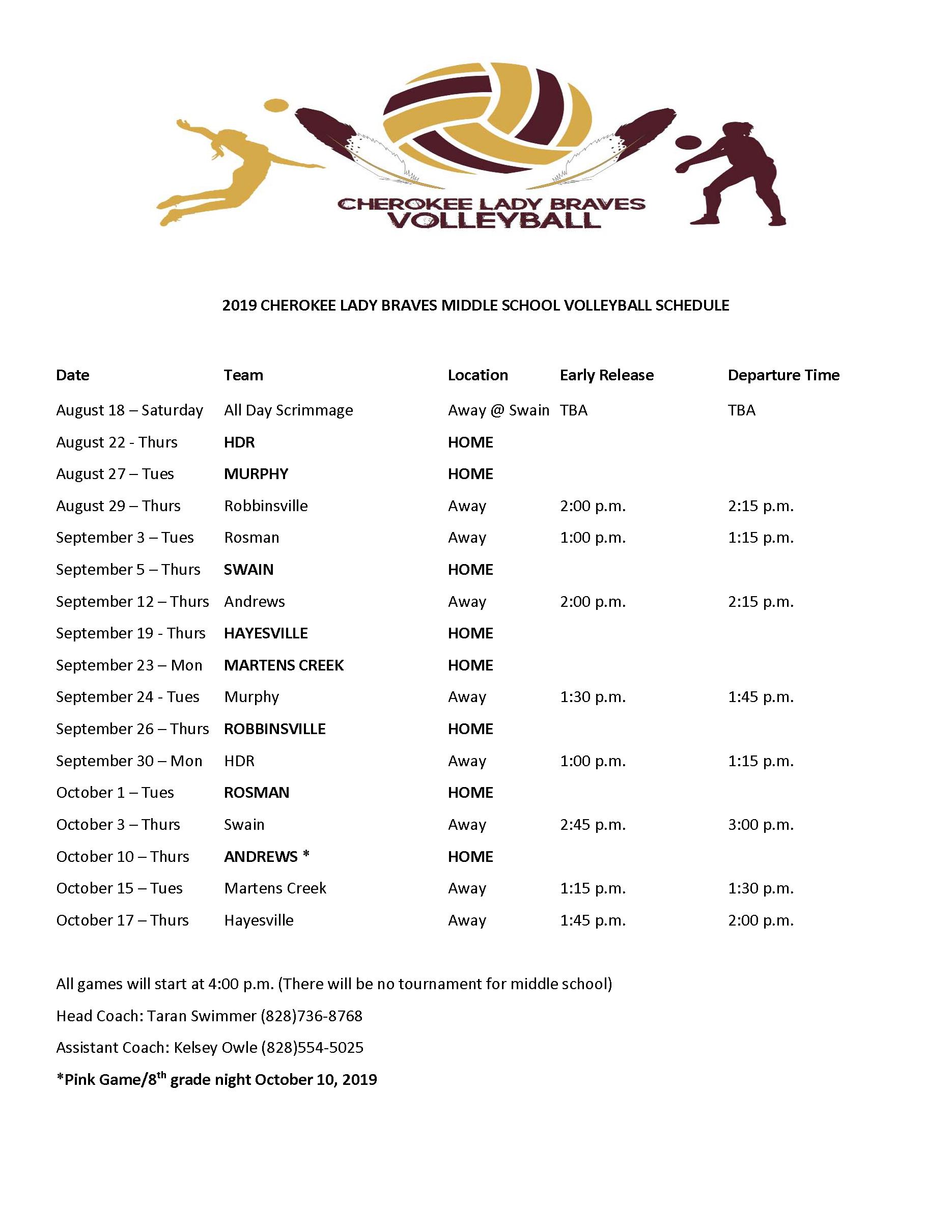 2019-2020 CMS Volleyball Schedule