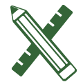 Pencil and Ruler School Supplies Icon