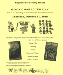 Book Character Dress up Day on Oct. 31