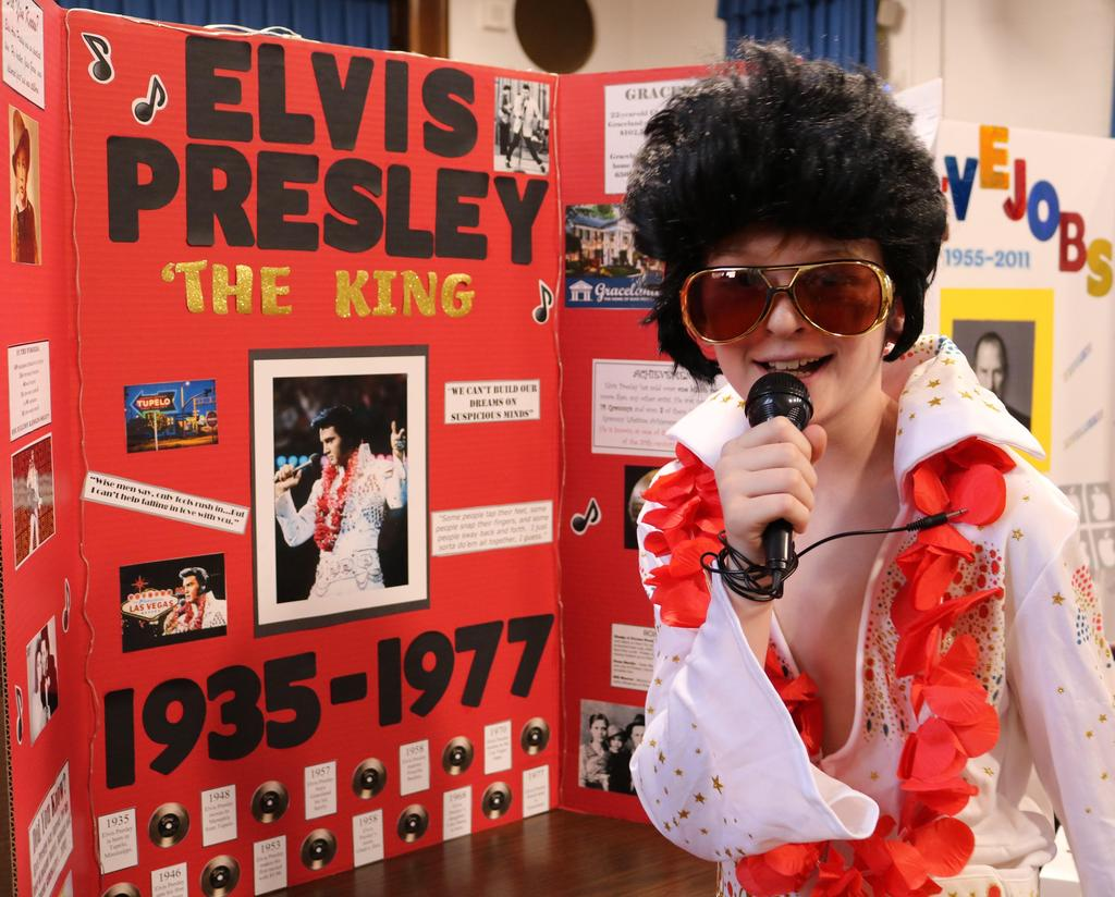 "Photo of Wilson 5th grader as Elvis Presley at annual ""Wax Museum"" event."