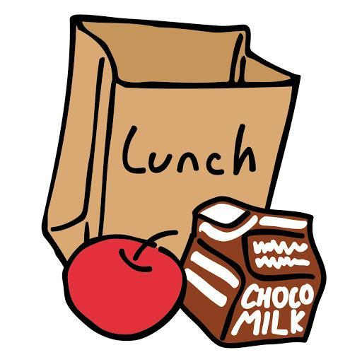 Brown lunch bag, red apple, chocolate milk